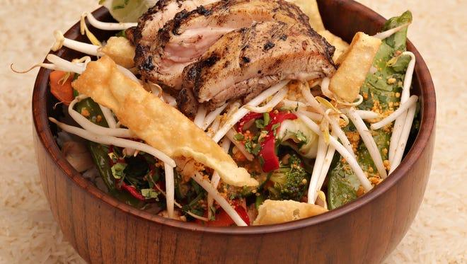 Chicken rice bowl made by Foosia Asia Fresh restaurant in Scottsdale.