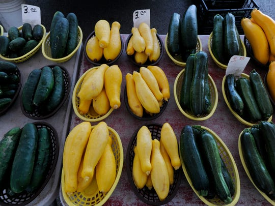 REPORTER-NEWS FILE PHOTO: Squash, zucchini and cucumbers at the Abilene Farmer's Market on June 1, 2017.