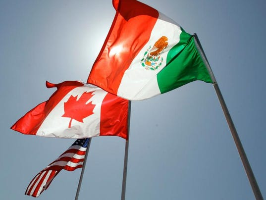 Flags of NAFTA partners