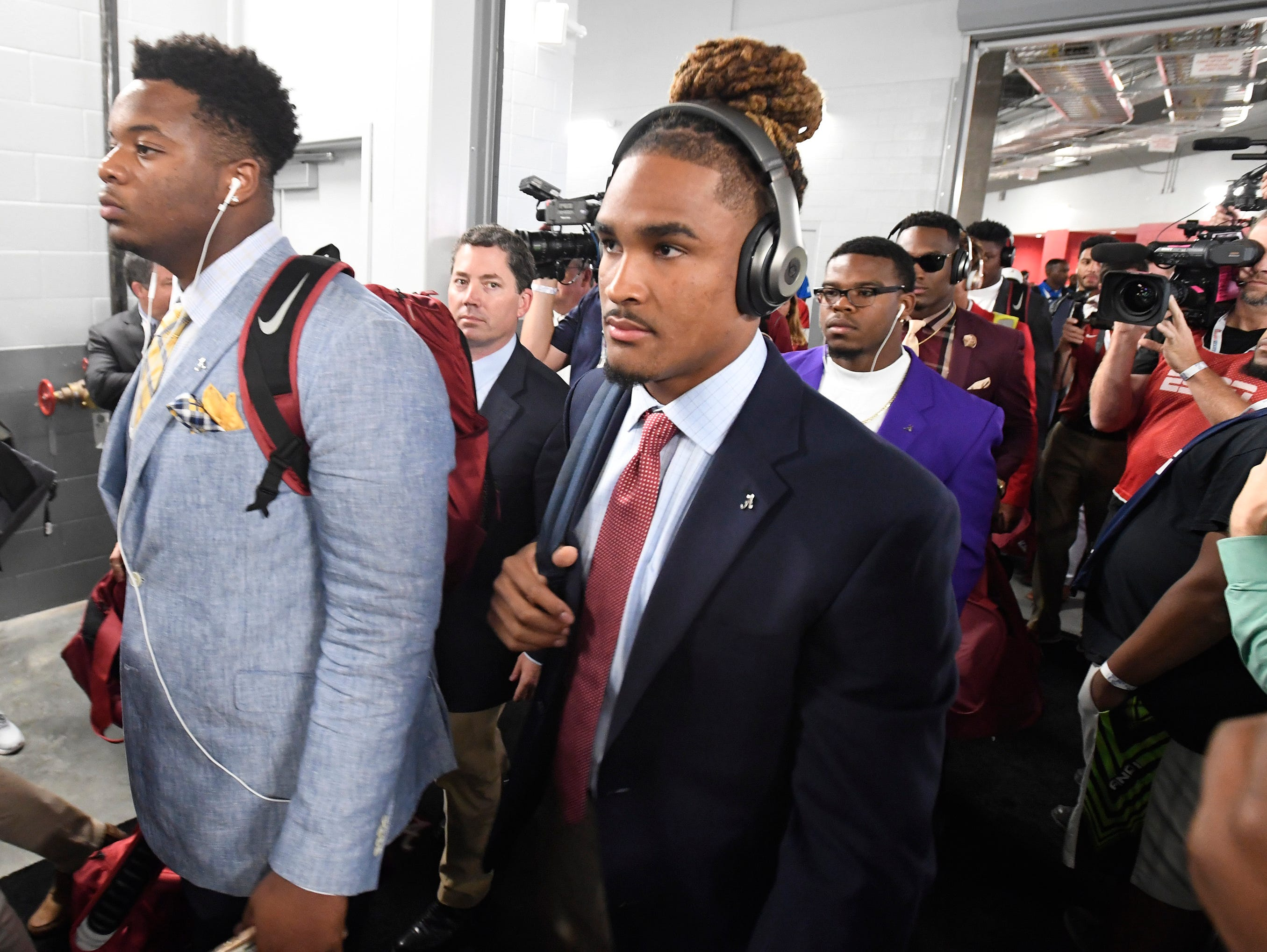 Alabama quarterback Jalen Hurts (2) arrives at the Mercedes - Benz Stadium in Atlanta, Ga., on Saturday September 2, 2017.