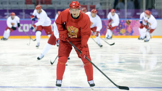 Russia forward Pavel Datsyuk is on the ice at practice for the first time on Tuesday morning.