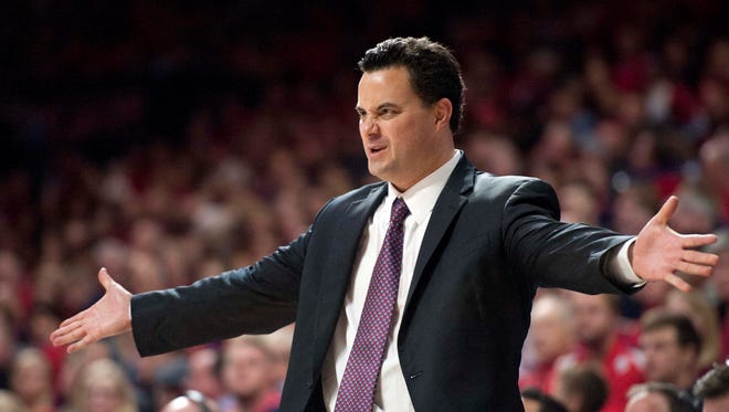 Nov 19, 2015: Arizona Wildcats head coach Sean Miller reacts during the second half against the Boise State Broncos at McKale Center. Arizona won 88-76.
