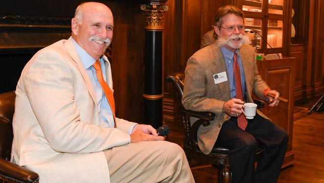 """Dr. Fred Bryant, on left, and Stephen J. """"Tio"""" Kleberg will be inducted together into the Texas Parks & Wildlife Foundation's Conservation Hall of Fame on April 6,2017 in Austin."""