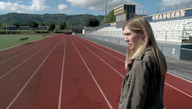 Pat Tillman's widow, Marie, visits Pat Tillman Stadium at Leland High School in San Jose. The two met at Leland and were high-school sweethearts.
