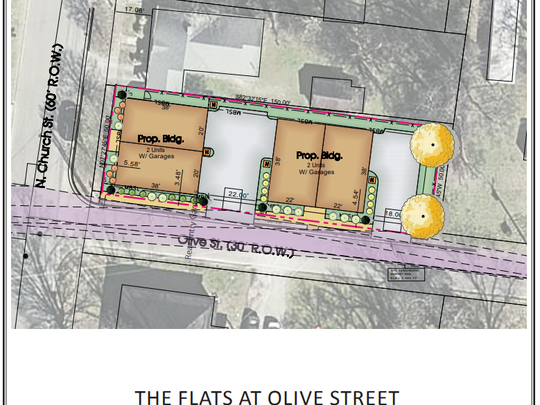 This map shows where The Flats at Olive Street project would be built at the northeast corner of North Church and Olive streets in downtown Murfreesboro. Shane McFarland Construction proposes to build this project in two four-story buildings that each contain two town homes.