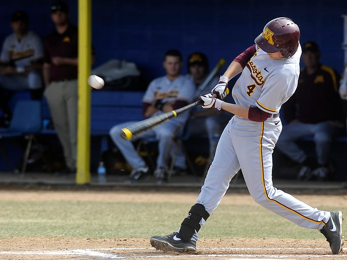 Minnesota Gophers' #4 Connor Schaefbauer bats against SDSU at Erv Huether Baseball Field on SDSU campus in Brookings, S.D. Wednesday, April 9, 2014. (Emily Spartz / Argus Leader)