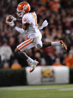 Clemson wide receiver DeAndre Hopkins (6) tries to come down with a pass against South Carolina during the 3rd quarter Saturday, November 26, 2011 at Carolina's Williams Brice Stadium. BART BOATWRIGHT/Staff