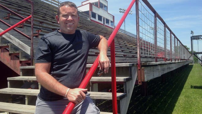 Jason Goble, owner of Quincy Raceway in Illinois, stands before the grandstand and press box as he overlooks Moberly's Randolph County Raceway. Goble is leasing this 31-year old dirt track racing facility for the entire 2020 racing season. The first of 19 scheduled racing dates is Sunday, with the first green flag to wave in three years at the facility tentatively set for 6 p.m.
