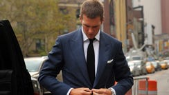 Tom Brady walking into federal court on Monday.