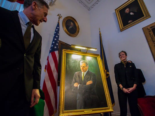Gov. Peter Shumlin and his wife Katie Hunt unveil his