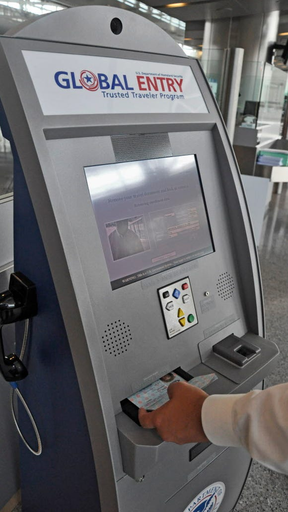 A Global Entry kiosk at the Houston Bush airport on
