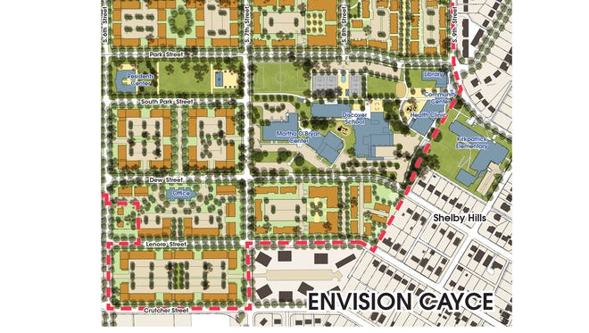 Final plans for the Envision Cayce project show two charter schools, including KIPP Kirkpatrick Elementary, close together.