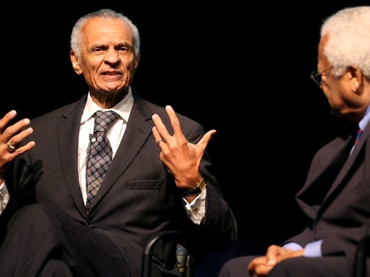 Civil rights leader  the Rev. C.T. Vivian, left, takes his turn to answer civil rights questions as  the Rev. James Lawson listens, during an event at Middle Tennessee State University Thursday, Sept. 17, 2015.