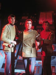 Left to right: Leonard Nimoy, William Shatner and DeForest Kelley star in 'Star Trek: The Motion Picture.'