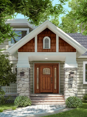 This JELD-WEN Aurora fiberglass door, in a maintenance-free mahogany finish, adds curb appeal and value of your home.