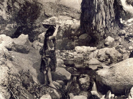 E.L. Curtis lithograph of Cahuilla woman in Andreas Canyon.