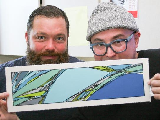 Art teacher Jason Farnsworth (left) invited painter