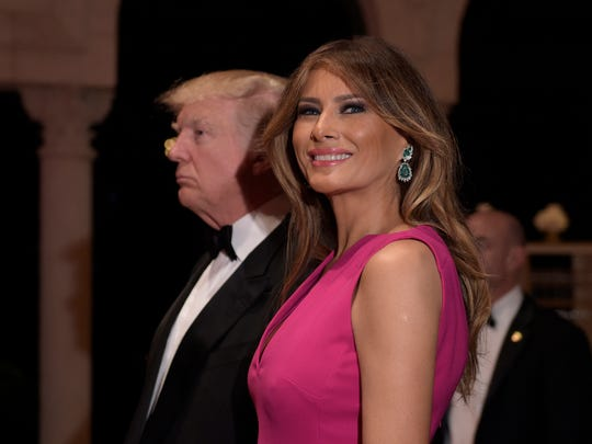 President Trump and first lady Melania Trump on Feb. 4, 2017, at the annual Red Cross Gala at Trump's Mar-a-Lago resort in Palm Beach, Fla.