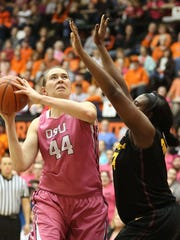Oregon State's Ruth Hamblin (44) takes a shot under pressure from Arizona State's Ayanna Edwards during their game on Friday, Feb. 13 , 2015, in Corvallis, Ore.