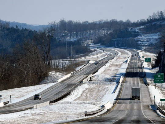 A view of I-840 in Williamson County, Tenn. shows roads