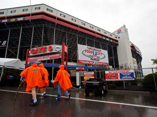 Fans arrive at Bristol Motor Speedway before a NASCAR Monster Energy NASCAR Cup Series auto race, Sunday, April 23, 2017, in Bristol, Tenn. (AP Photo/Wade Payne)