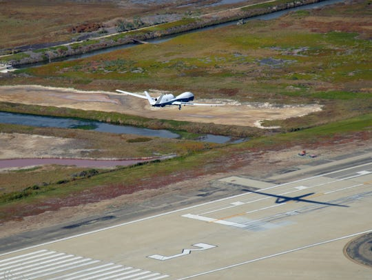 An MQ-4C Triton unmanned aerial vehicle landed at Naval Base Ventura County on Thursday.