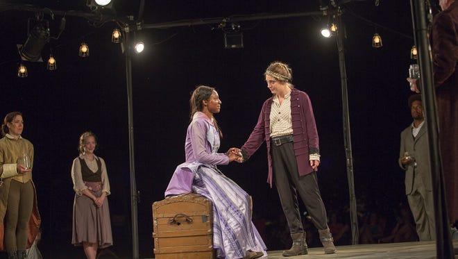 Emilie Krause as Henry, right, and Savannah Jackson as Katharine in Delaware Shakespeare's 'Henry V.'