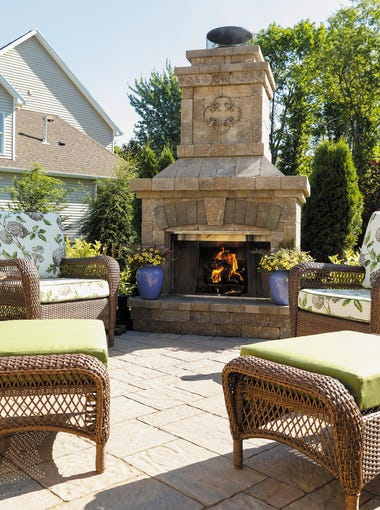 The Muratore family of Webster uses its wood-burning fireplace from Miller Brick to unwind in evenings.