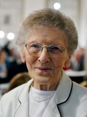 Legion of Honor Membership recipient Lucille Demyanovich stands for a portrait Wednesday, May 11, 2016, at the 24th annual Four Chaplains Prayer Breakfast at the Yorktowne Hotel. The breakfast honors the four chaplains who gave up their life jackets -- and their lives -- while onboard a ship off the coast of Greenland that was hit by a German submarine in 1943. Rabbi Alexander D. Goode, one of the four chaplains, had led York's Temple Beth Israel and is the namesake of Goode K-18 in the York City School District.