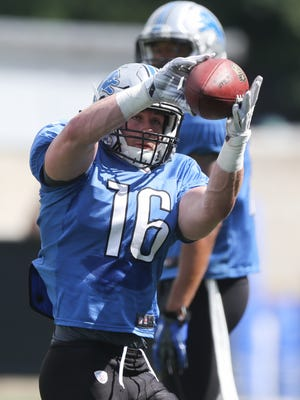 Detroit Lions receiver Jace Billingsley catches a pass during training camp Monday, August 1, 2016 at the practice facility in Allen Park, MI.
