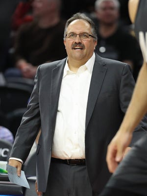 Pistons head coach Stan Van Gundy watches action against the Nets during the Pistons' 90-89 win Thursday, March 30, 2017 at the Palace.