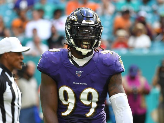 Sep 8, 2019; Miami Gardens, FL, USA; Baltimore Ravens outside linebacker Matt Judon (99) reacts against the Miami Dolphins during the second half at Hard Rock Stadium. Mandatory Credit: Steve Mitchell-USA TODAY Sports