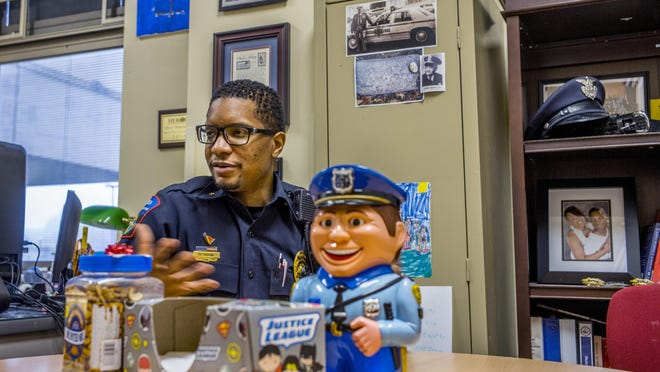 Peoria Public Schools Police Chief Demario Boone talks Wednesday, January 15, 2020 about his efforts, and that of his staff of resource officers, to build relationships with the students that promotes their ability to maintain trust and, when the need arises, de-escalate difficult situations.