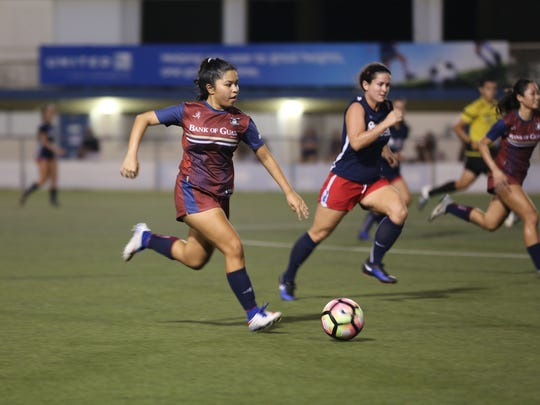 Bank of Guam Lady Strykers' Hannah Cruz looks for options