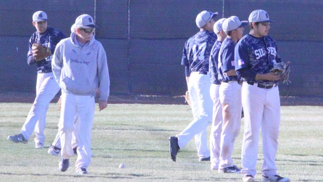 The Silver High baseball team warms up before the game against Hatch Valley on Thursday at the Ben Altamirano Sports Complex. The Colts won, 17-2.