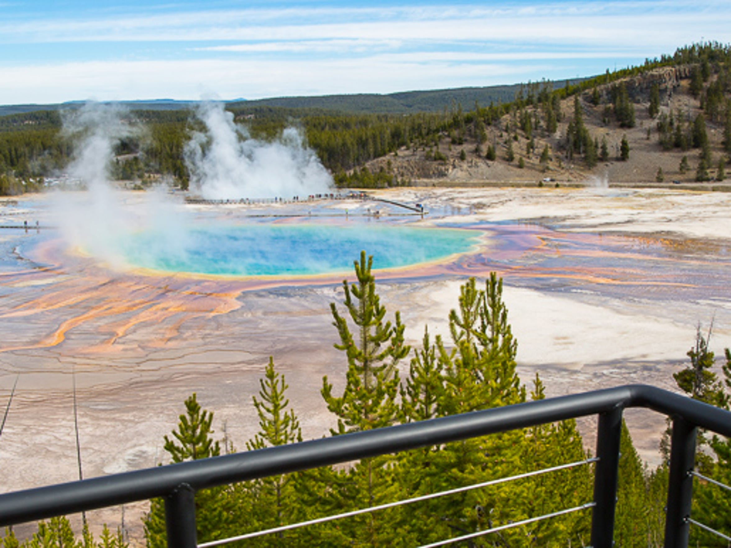 The new observation deck overlooking Grand Prismatic Spring is expected to open in July.
