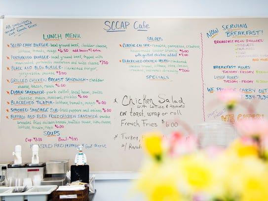 The menu at the SCCAP Cafe, a Gettysburg restaurant