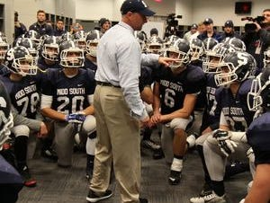 Middletown South High School coach Steve Antonucci speaks to his team in the locker room before the game against Phillipsburg High School during the North 2 Group IV game of the 2015 NJSIAA/MetLife Stadium High School Football Championships at MetLife Stadium in East Rutherford, NJ Saturday December 5, 2015.