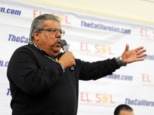 Incumbent county supervisor Fernando Armenta makes a point during The Californian's District 1 candidates forum Wednesday night.