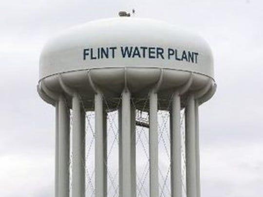 Flint Water Plant storage tower.