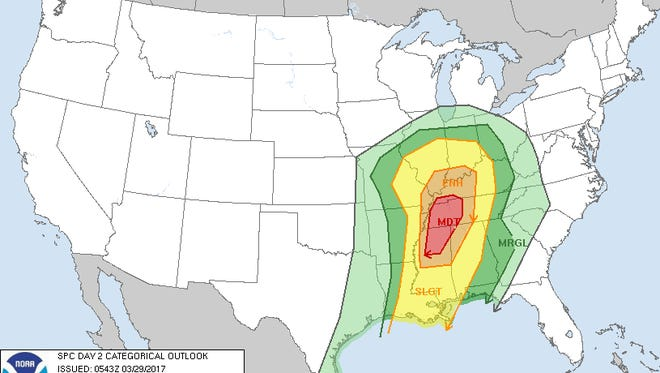 "As of Wednesday morning, Evansville was in an area that is at an ""enhanced"" risk for severe weather on Thursday."
