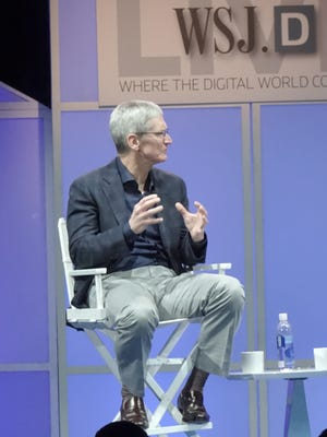 Apple CEO Tim Cook speaks at the WSJDlive conference in Laguna Beach, Calif.