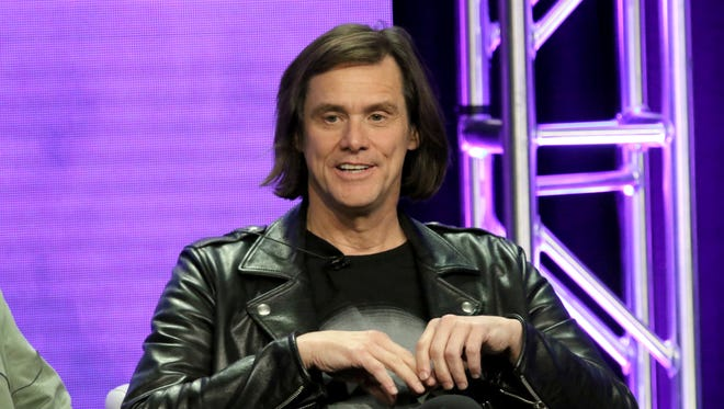 Jim Carrey talks during a Showtime panel for 'Kidding' Monday at the Television Critics Association summer press tour.