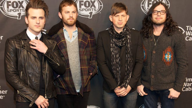 Jared Followill, Caleb Followill, Matthew Followill, and Nathan Followill of Kings of Leon at Time Warner Cable Studios in January.