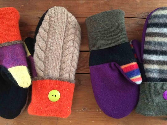 Felted wools and other recycled fibers are used by Kyra Miller for her Heart Felt Mittens.