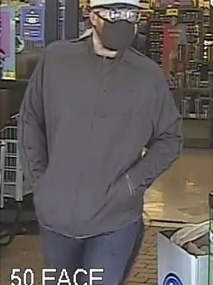 Surveillance cameras captured this photo of the male suspect in the Aug. 23 robbery of the Kroger store on the 200 block of West Bridge Street in Dublin.