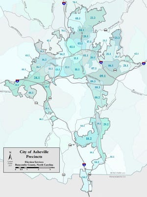 A local election services map shows Asheville's voting precincts. The City Council is looking at the possibility of splitting the city into electoral districts.