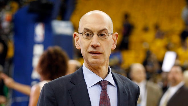 NBA commissioner Adam Silver before game two of the 2017 NBA Finals between the Golden State Warriors and the Cleveland Cavaliers at Oracle Arena.