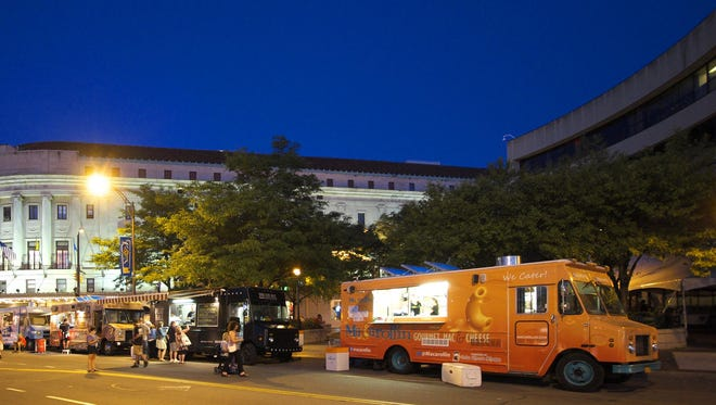 A file photo of food trucks lined up at the jazz festival.