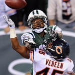 Jets wide receiver Jeremy Kerley goes up for a pass in the end zone against Chicago Bears strong safety Brock Vereen during the fourth quarter of their Sept. 22 game. The Jets announced Tuesday they have signed  Kerley to a four-year contract extension.